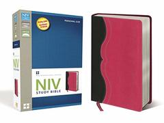 NIV Study Bible, Personal Size, Imitation Leather, Gray/Pink, Red Letter Edition